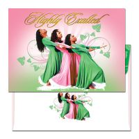 Highly Exalted Three Ladies Pink and Green Christmas Card