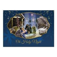 Oh Holy Night Blue  African American Christmas Card