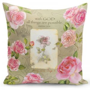 With God (Pink Roses) Pillow Cover
