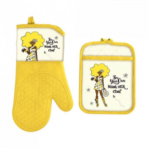 BEE YOUR OWN MASTHER CHEF  African American POTHOLDER SET