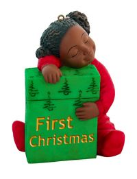 First Christmas Girl African American Ornament