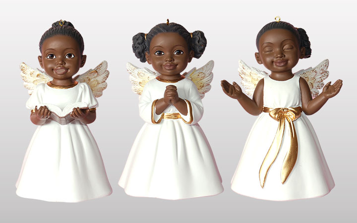 3 Cherubs African American Christmas Ornament in White Singing Praise, Prayer and Worship