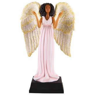 African American Angel in Pink Figurine