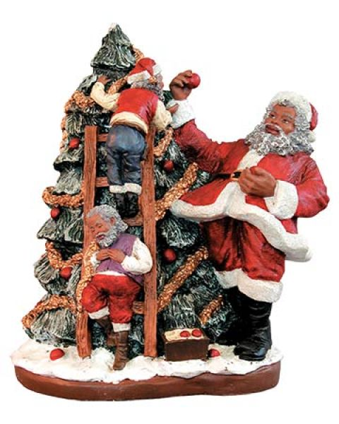 Black Santa Trims the Tree Figurine