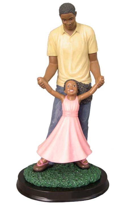 African American Daddys Girl Figurine