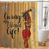 Living My Blessed Life Black Art Shower Curtain