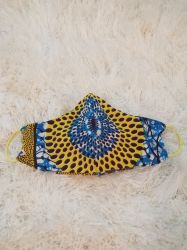 Blue and Yellow Speckled Ankara African Print Stylish Face Mask
