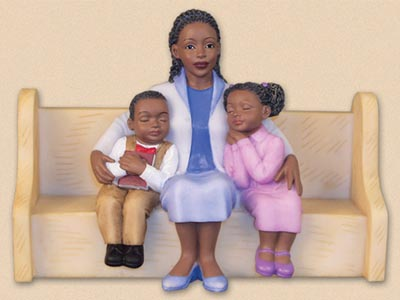 Mother Hugging Kids Church Pew African American Figurine