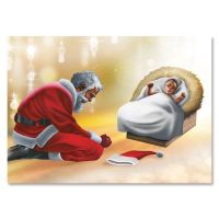 African American Santa Bowing at the Manger Christmas Card